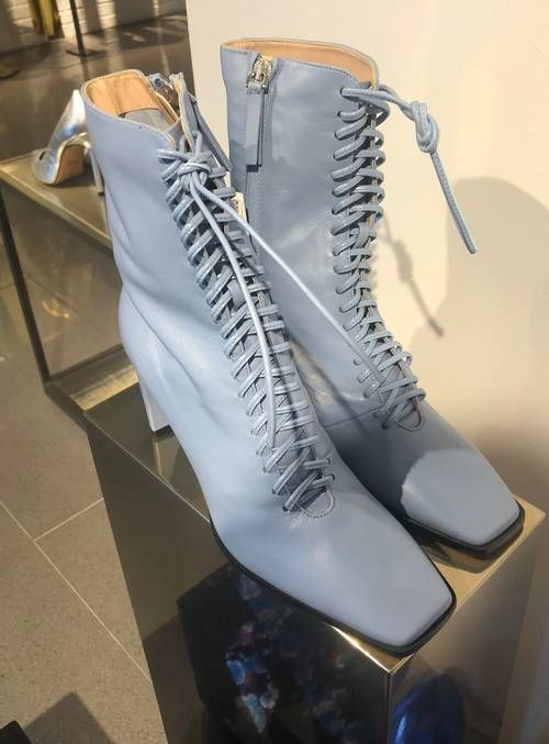 Zara Shoe Trends Autumn 2019: These blue lace-up boots were a fashion editor favourite at Zara's autumn/winter 2019 press preview