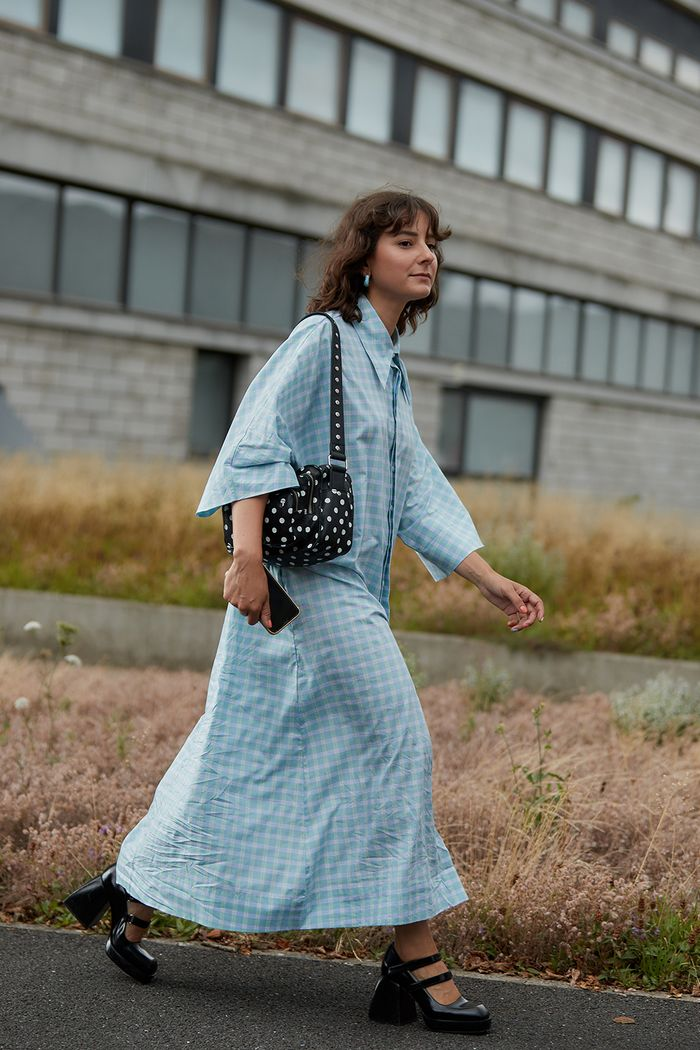 Street style colour trends: Alyssa in powder blue dress