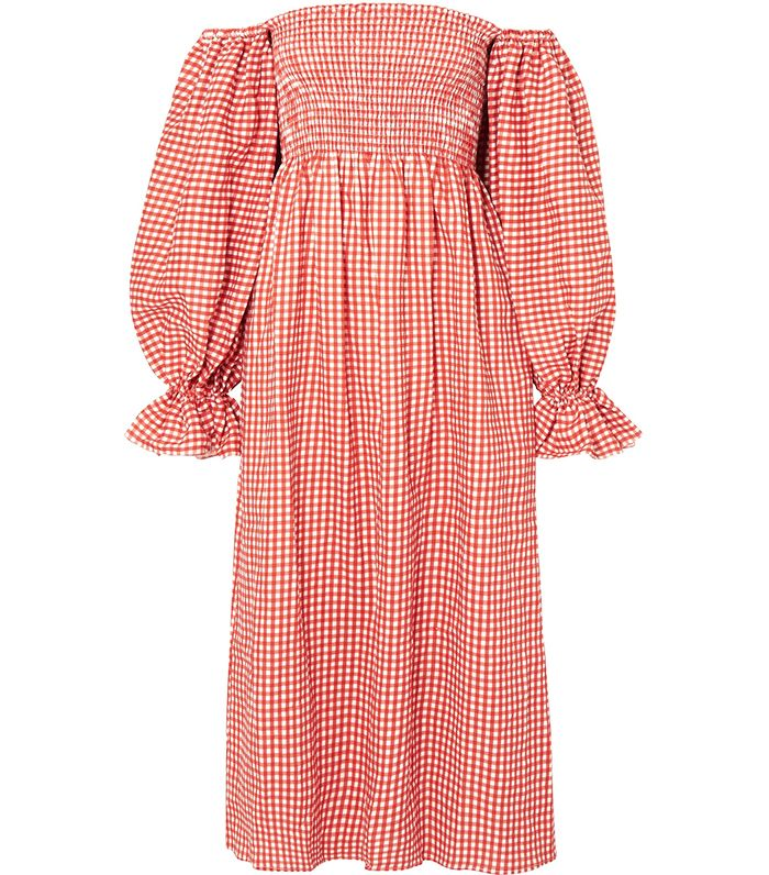 The Sleeper Atlanta Off-the-Shoulder Shirred Gingham Linen Midi Dress