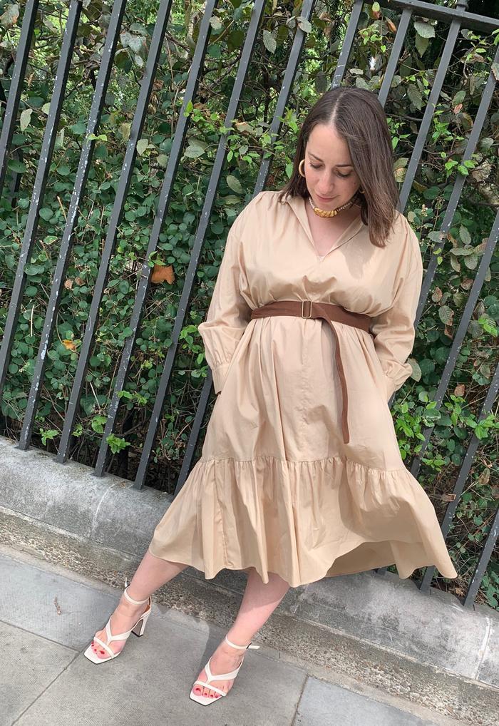 Zara beige dress: Hannah Almassi