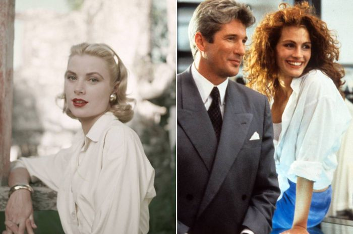 best white shirts for women: grace kelly and julia roberts