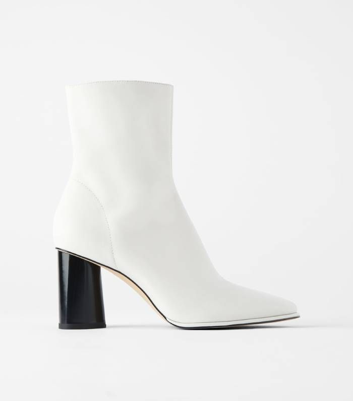 Zara Leather High Heel Ankle Boot