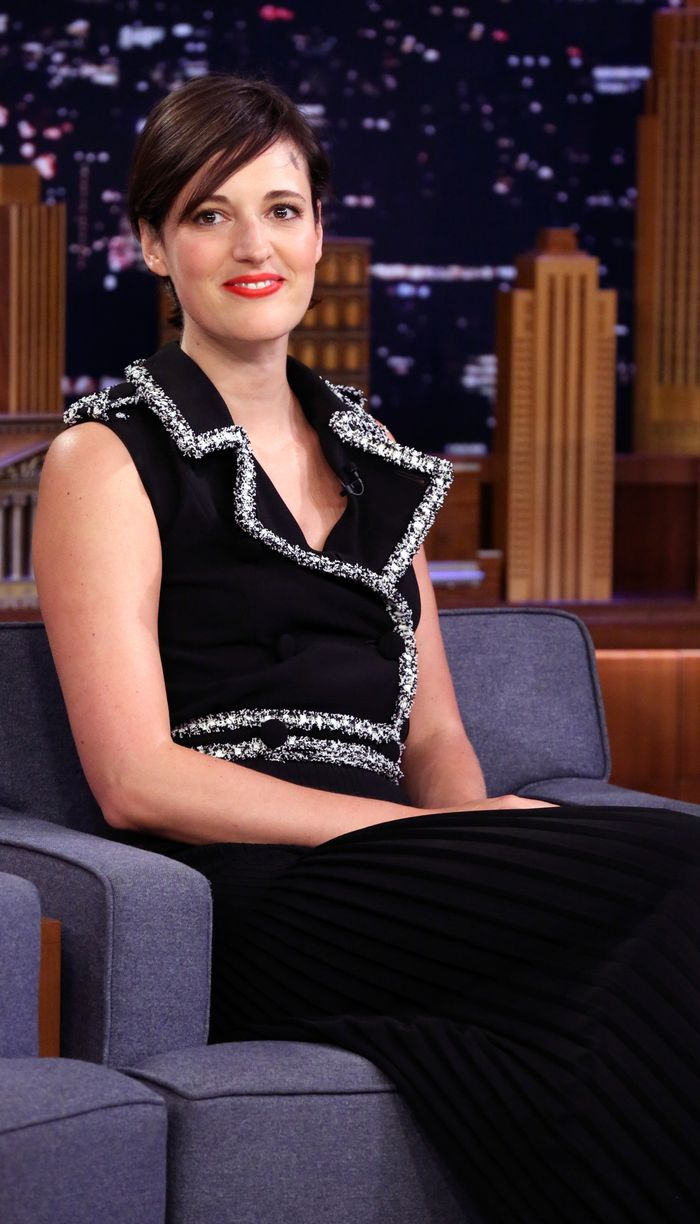 Phoebe Waller-Bridge Style:On the talk-show circuit, Phoebe keeps things classic in a black dress with contrast silver trim.