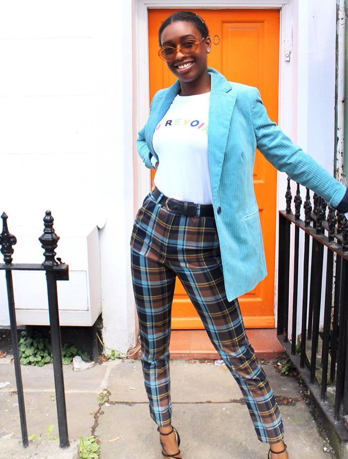 Marks and Spencer's Autumn 2019: Dominique wears a blazer and trousers from M&S