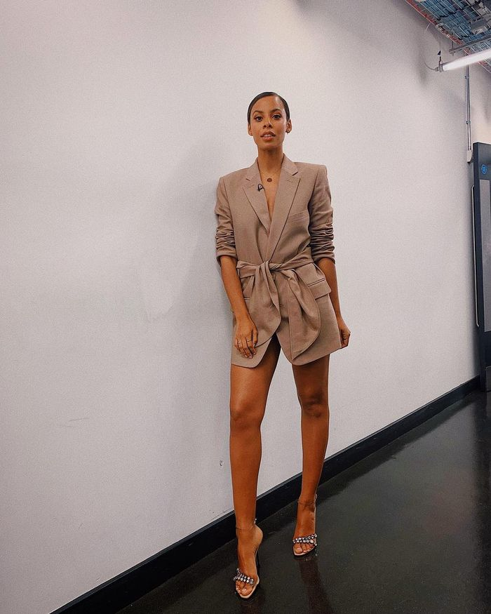 Rochelle Humes Burts Bees Highlighter: Rochelle wearing beige blazer dress