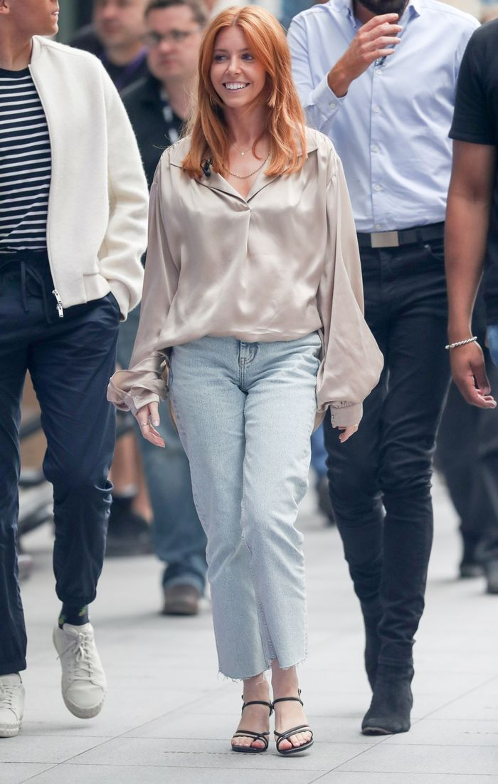 Stacey Dooley outfit ideas: jeans and silk blouse