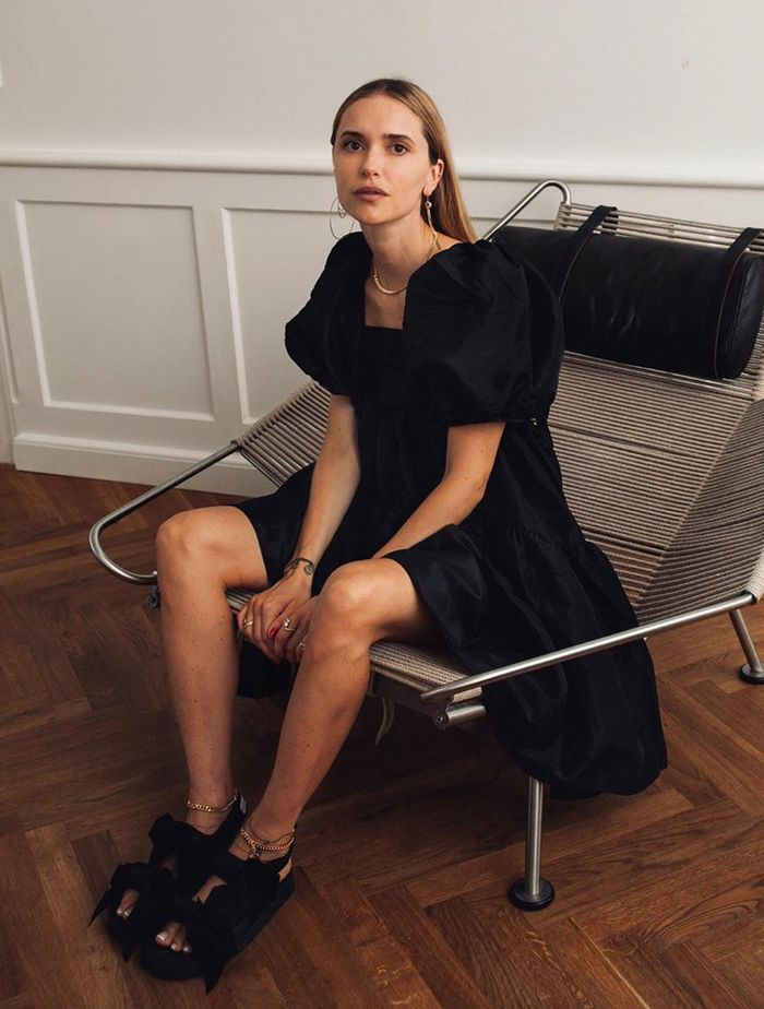 Cecilie Bahnsen: Pernille Teisbaek wears a black dress from the brand