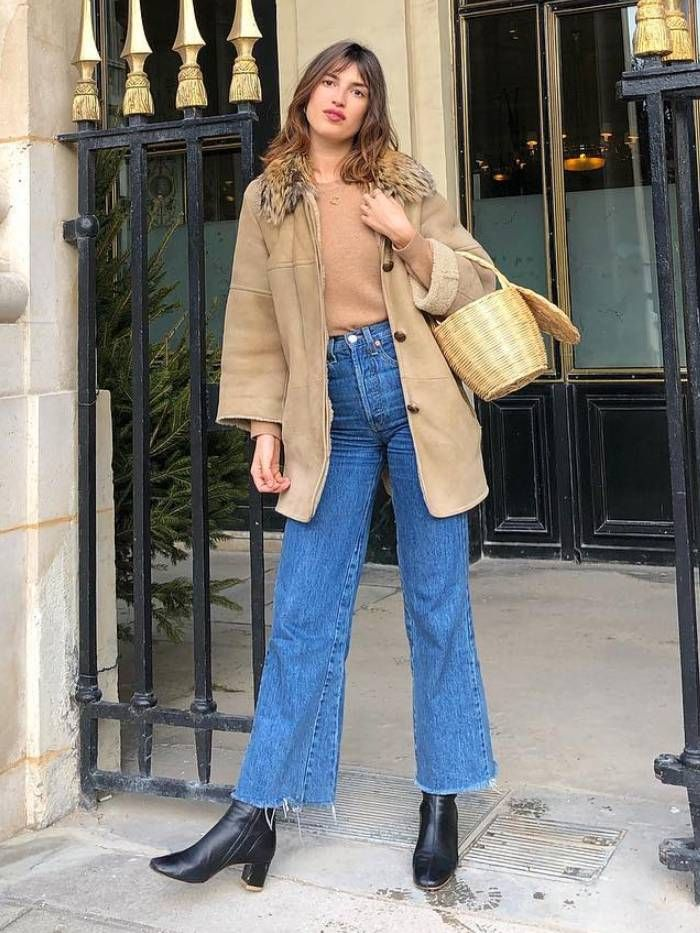 high rise wide-leg jeans trend: jeanne damas