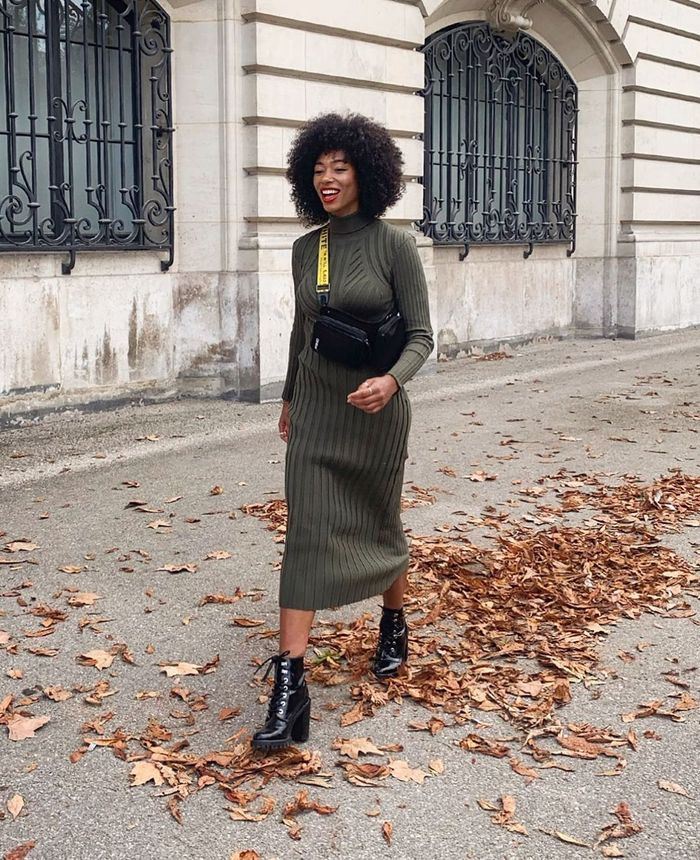 Best Autumn Beauty Products: ASOS Lesley wearing knitted midi dress