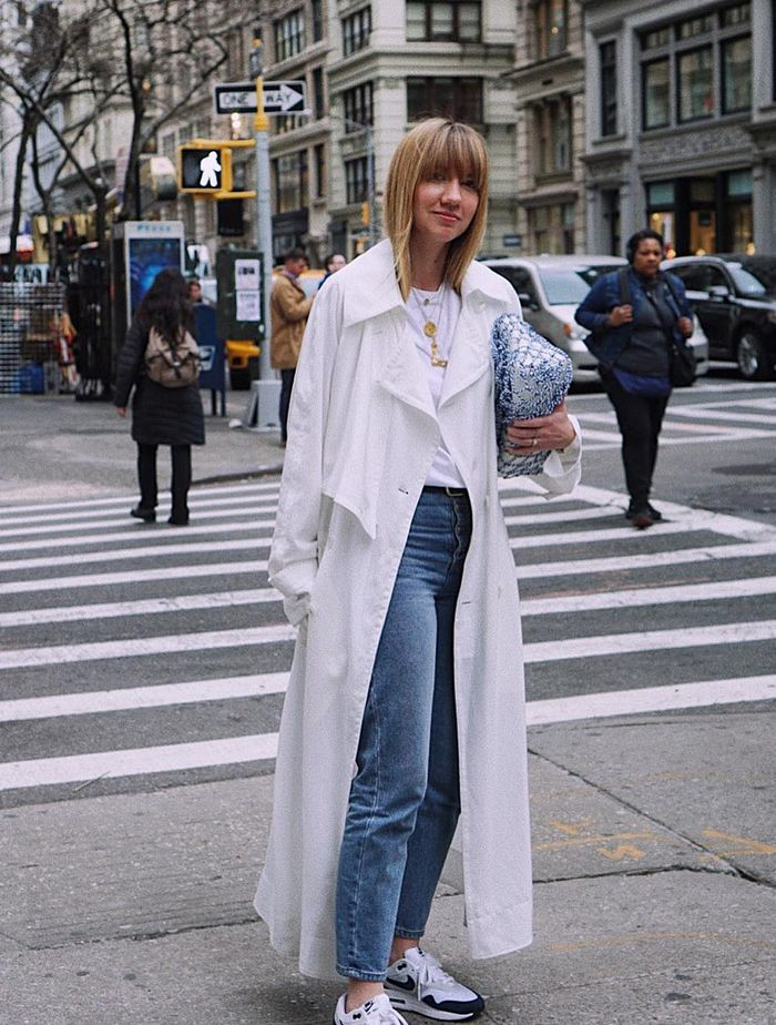 Trench Coat Outfit Ideas: @lisa.aiken in a white trench