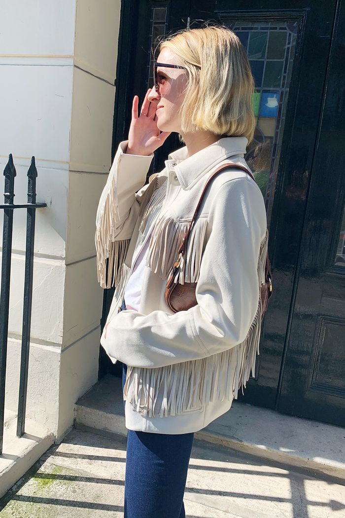H&M fringed jacket worn by Joy Montgomery