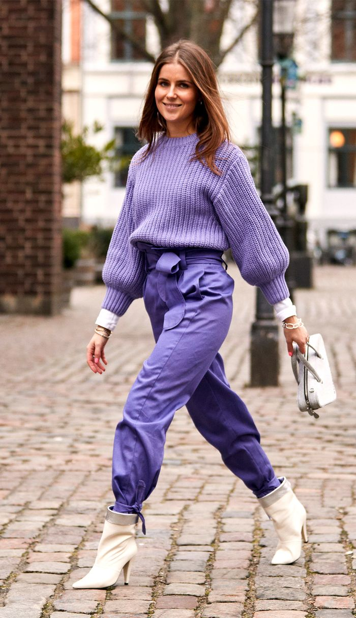 Purple sweater and white booties street style outfit