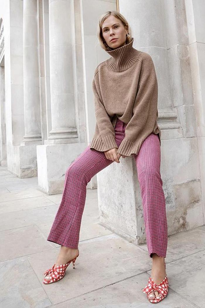Loeffler Randall: @wethepeoplestyle wears a pair of gingham mules