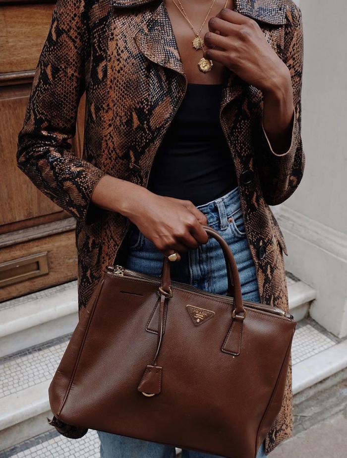 London Autumn Fashion Trends: @natashandlovu wears a snake print cover-up