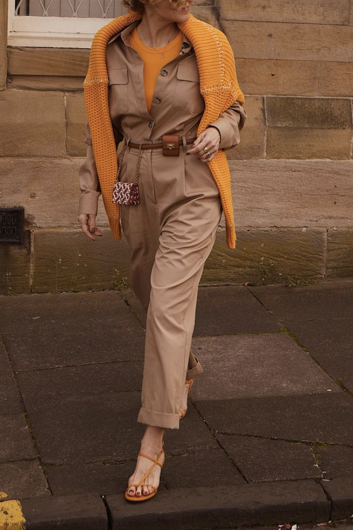 How to wear a boilersuit: Vens wife in beige boilersuit