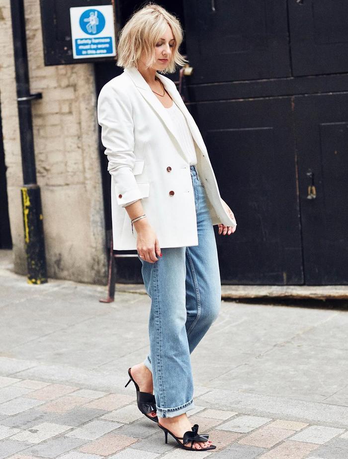 Best Topshop Jackets: Emma Rose Thatcher wears a cream Topshop blazer