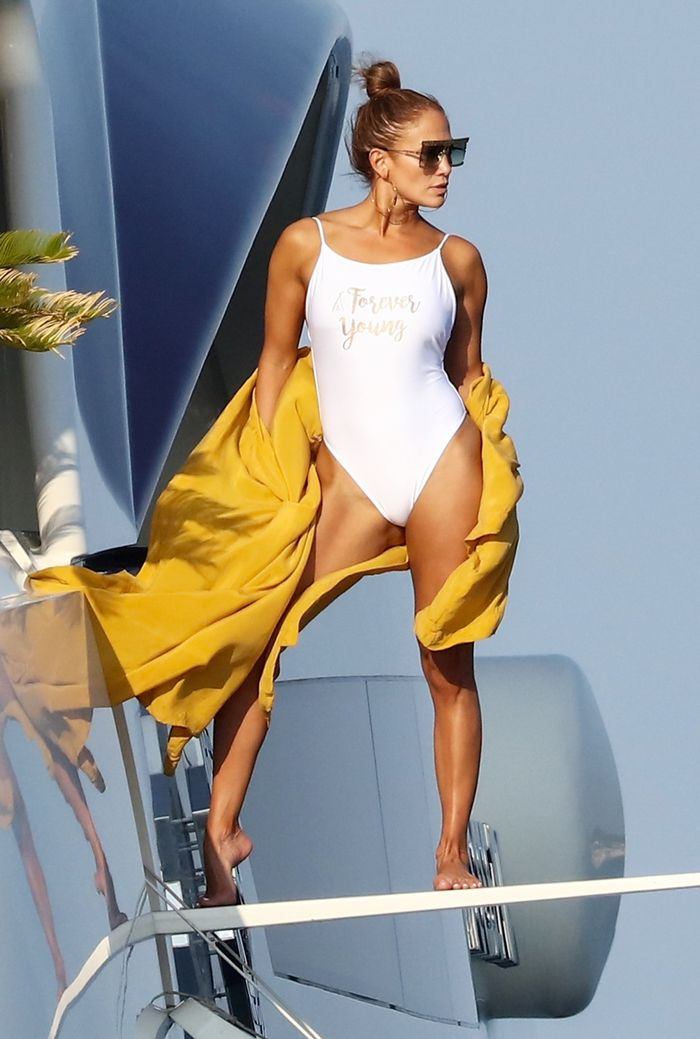 Jennifer Lopez Wears a High-Cut Thong Swimsuit