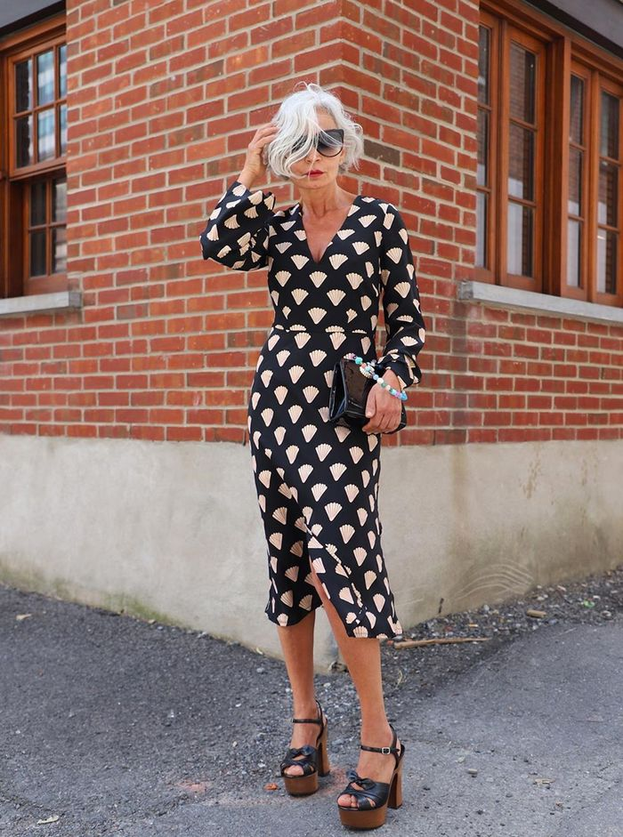 Vintage-inspired dresses: Grece Ghanem in a shell-print dress from Rixo
