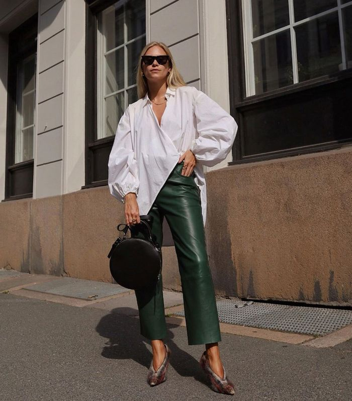 Ways to wear leather: Tine wearing green leather trousers