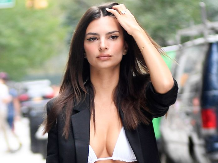 EmRata Wore a Strappy Bikini Top With Trousers and Heels in NYC
