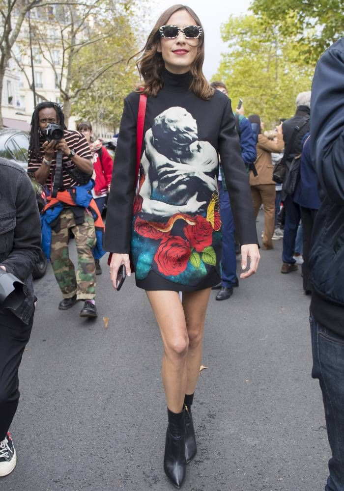 Alexa Chung during paris fashion week wearing valentino
