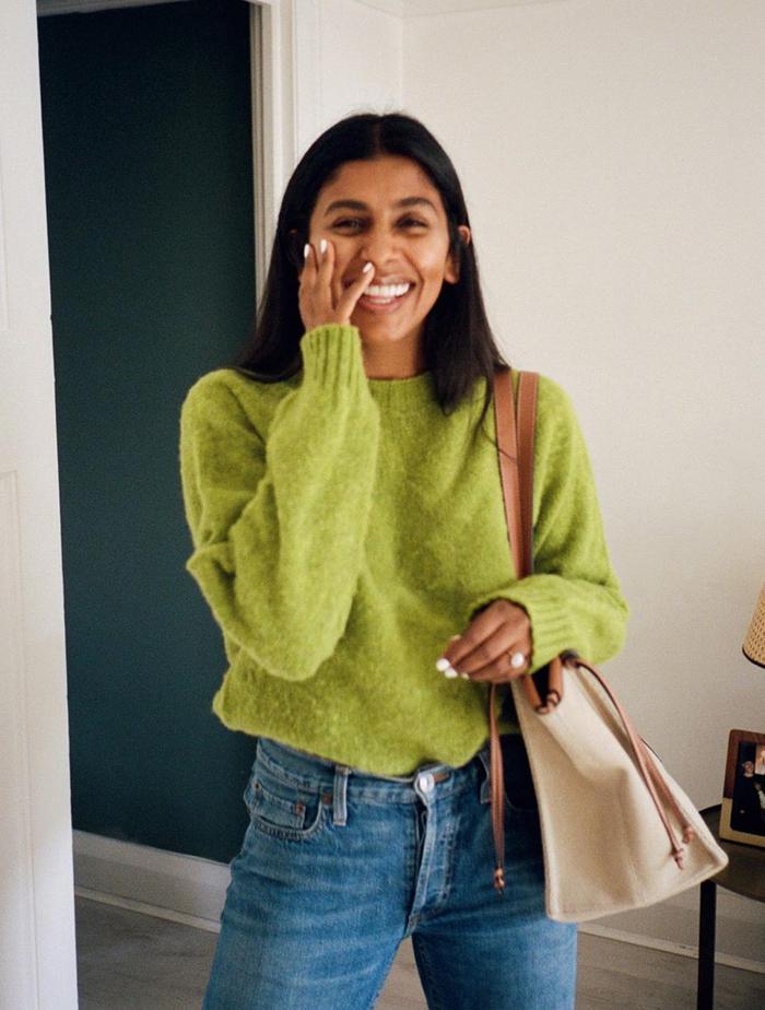 Jumper Trends 2019: Monikh Dale wears a green jumper