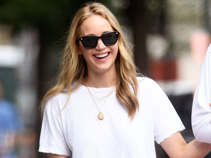 Jennifer Lawrence Wore a White T-Shirt and Pink Skirt