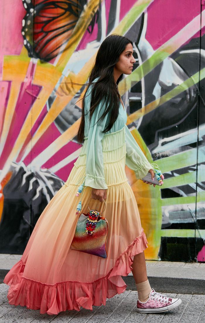 Street style colour trends 2019: rainbow print dress
