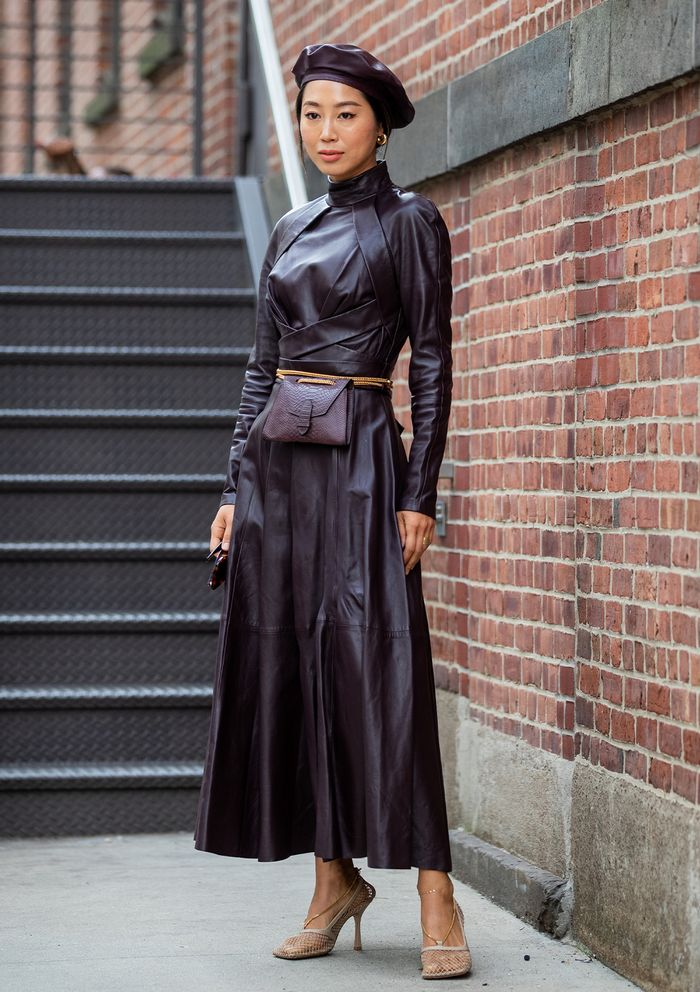 Leather Dress Street Style NYFW