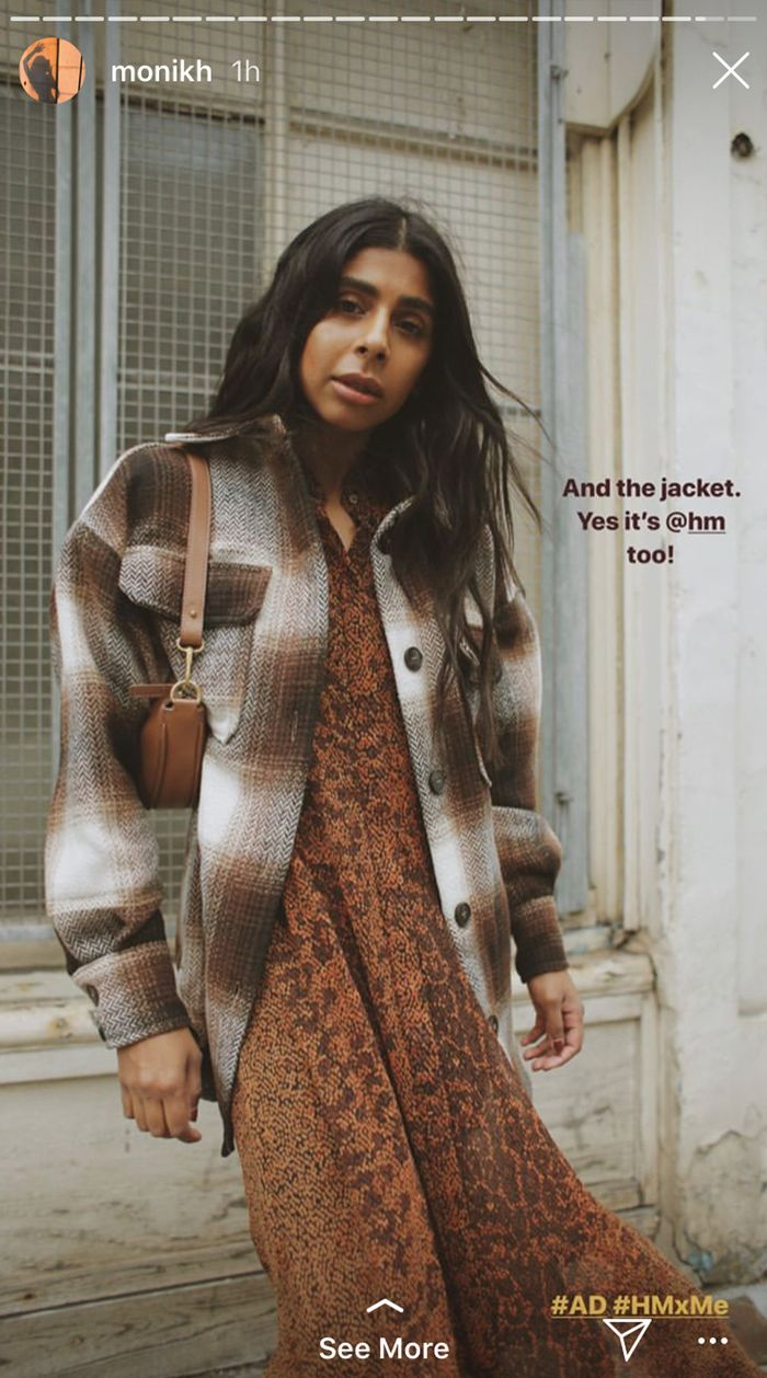Monikh wearing H&M's brown checked shirt jacket