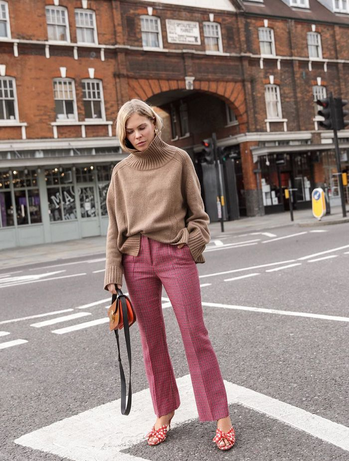 How to wear bright colours in autumn: Jessie Bush wears pink trousers