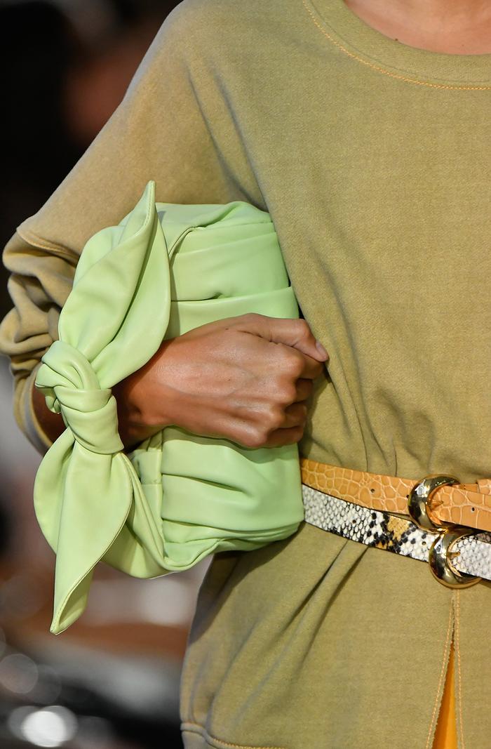 Lime green fashion trend spring 2020: Rejina Pyo green knot bag