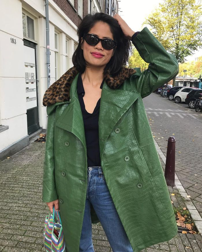 House of Sunny Coats 2019: Green Faux Reptile with Leopard Print Trim
