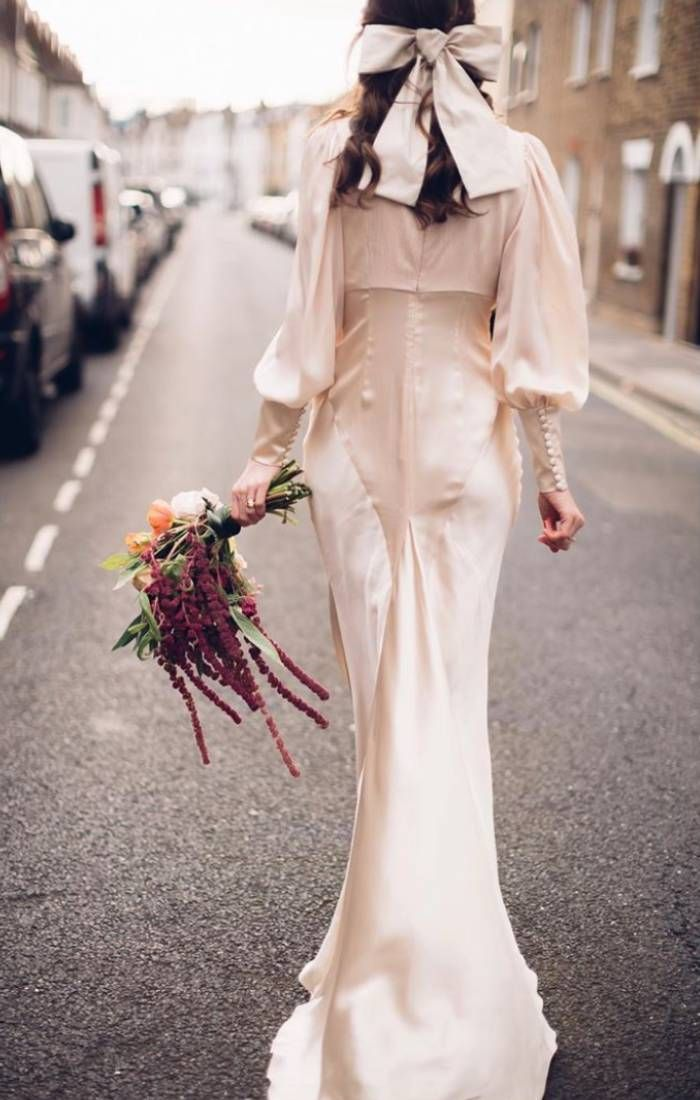 fit and flare wedding dresses: florrie thomas in her wedding dress