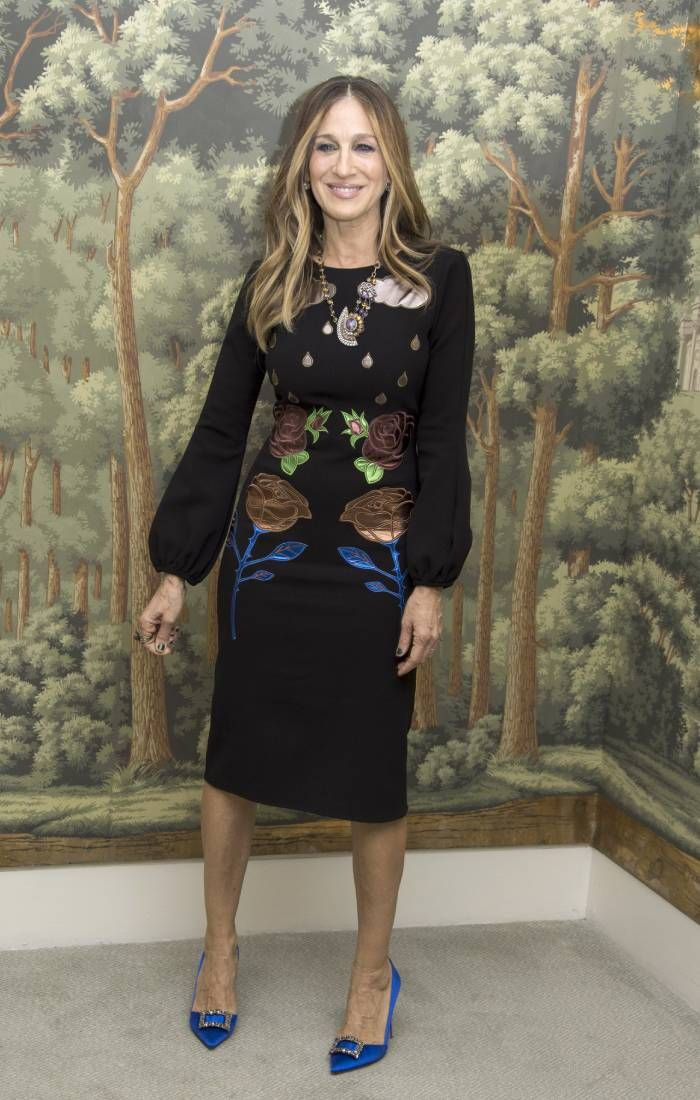 sarah jessica parker style: in a black dress