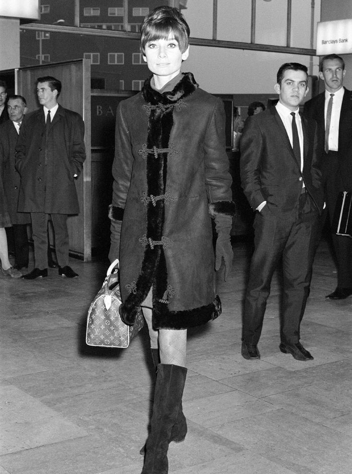 Audrey Hepburn Style Louis Vuitton Bag and Knee-High Boots