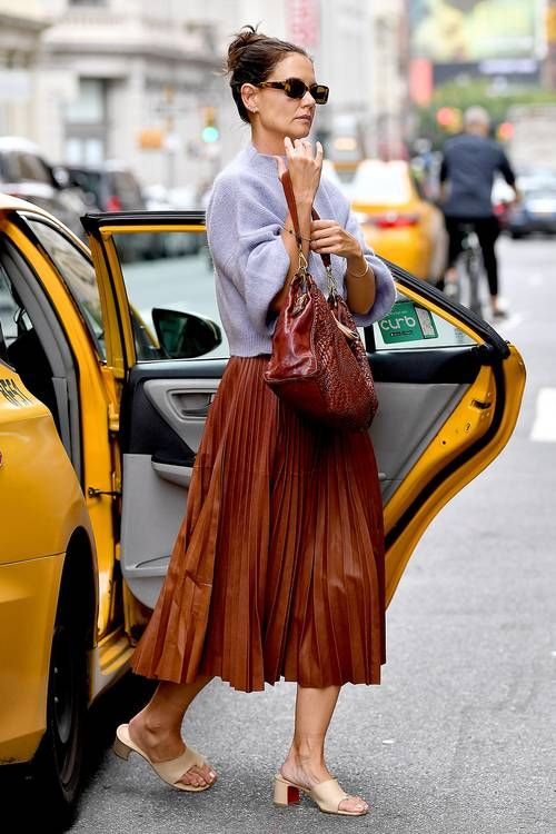 Best Dressed Celebrities September 2019: Katie Holmes in a pleated skirt