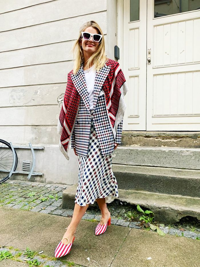 What to wear with a midi skirt: checked blazer with a checked skirt and striped heels