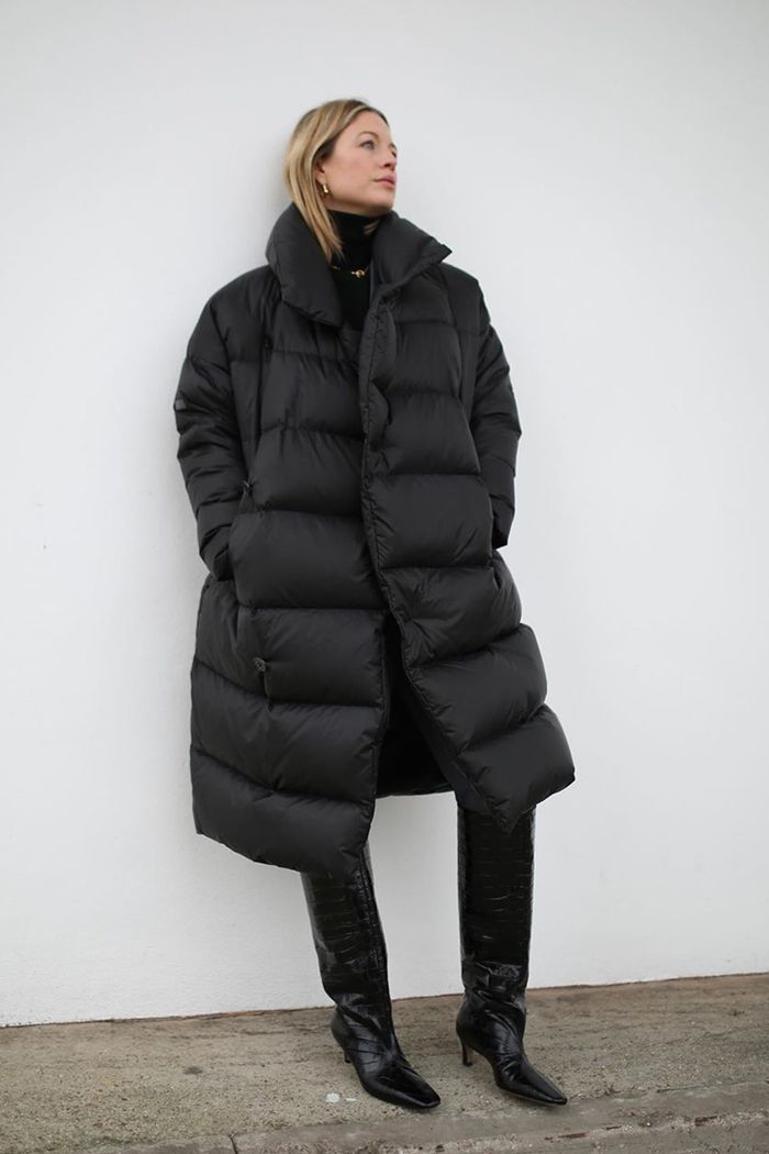 Best quilted and duvet coats: Alexis Foreman wearing a black duvet coat