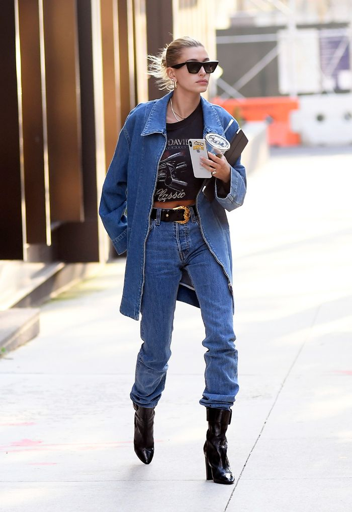 Best Hailey Bieber Outfit in Jeans and Ankle Boots, Celebrity Ugly Trends