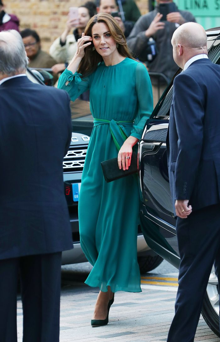 Kate Middleton wearing a green dress from ARoss Girl x Soler with green pumps and clutch bag