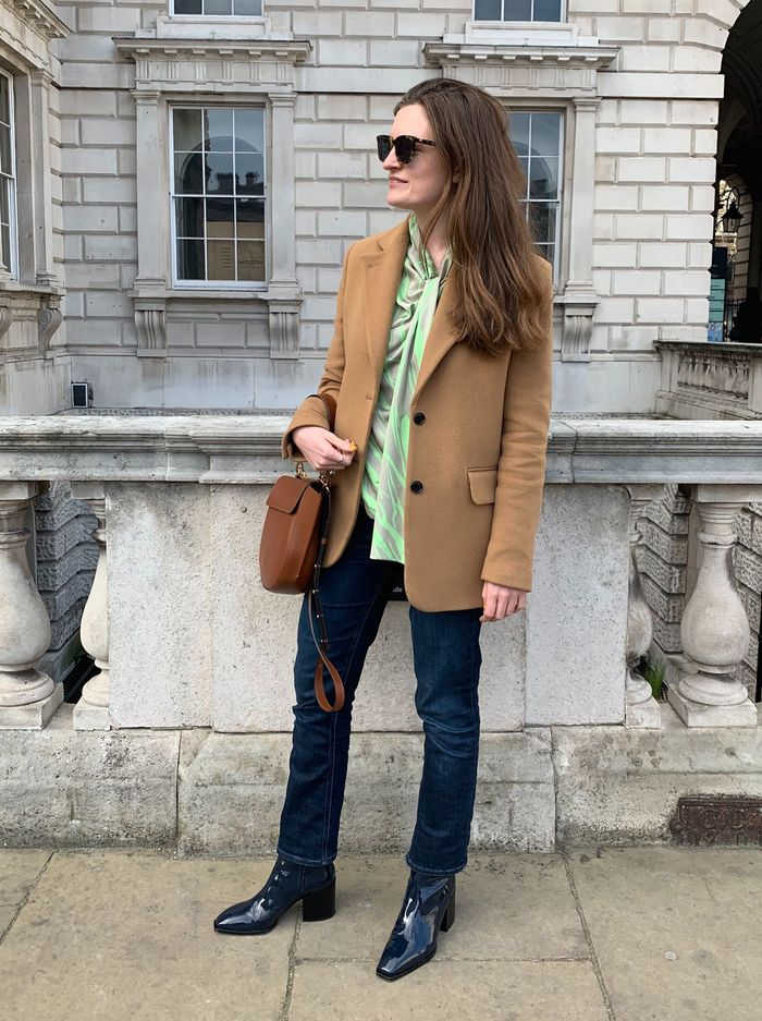 Best Aeyde boots: Emma Spedding in navy patent boots