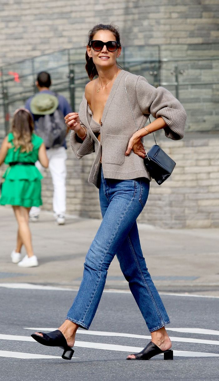 Katie Holmes Outfit In Bra and Cardigan