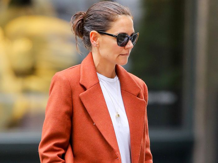Katie Holmes Wearing a T-Shirt and Mango Jacket
