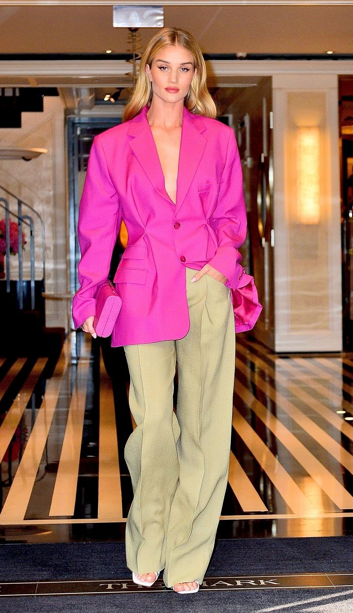 Rosie Huntington-Whiteley outfit in pink blazer
