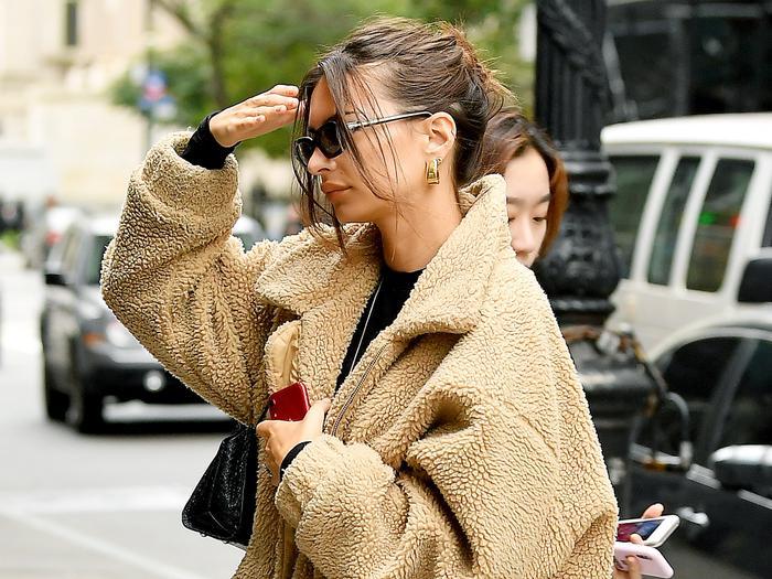 Emily Ratajkowski Wears I.Am.Gia's Pixie Teddy Bear Coat
