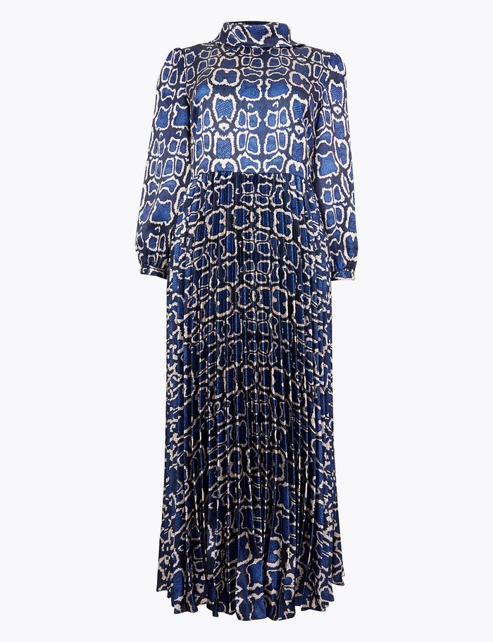 Marks and Spencer Satin Snakeskin Print Waisted Midi Dress