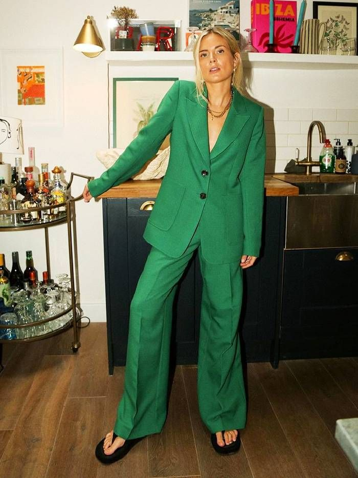 best trouser suits for women: Lucy Williams wears a green Kitri suit with The Row sandals