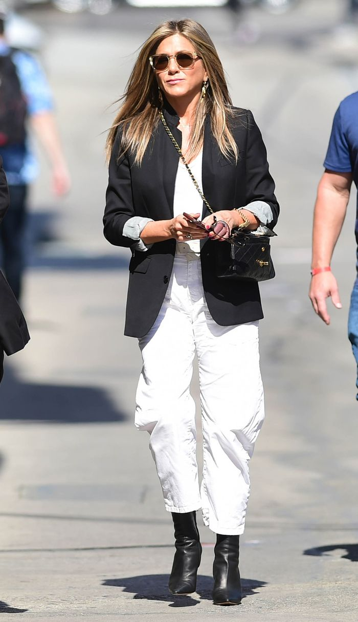 Best Jennifer Aniston outfit with blazer and black ankle boots
