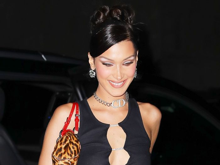 Bella Hadid Wore Crystal Shoes and Low-Slung Pants for Her Birthday Party